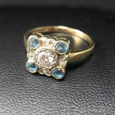 art deco diamond u0026 blue topaz gold ring hobart town antique