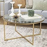 gold glass coffee table amazon com round coffee tables tables home kitchen