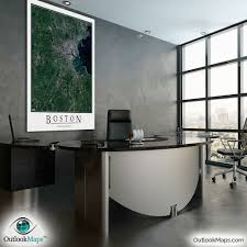 Map Room Boston by Boston Ma Area Satellite Map Print Aerial Image Poster