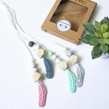 silicone necklace teething images Feather silicone pendant teething necklace mint miminoo modern jpg