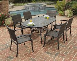 home styles stone harbor 7 piece oval slate top patio table and