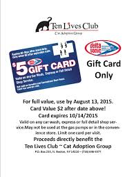 sonic gift cards ten lives club cat adoption delta sonic gift cards great