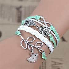 handmade charm bracelet images Owl leaf charm bracelet bangles jewelry friendship gift jpg