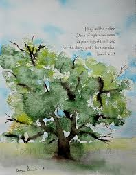 oak tree watercolor painting with bible verse my