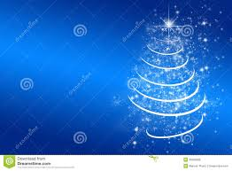 White Christmas Tree With Blue Decorations Blue Christmas Background With White Christmas Tree Stock