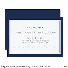 navy and white border wedding reception card wedding nautical