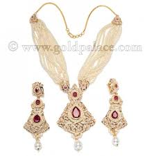 earring necklace ruby images Necklace earring set with pearls and ruby 22k gold palace jpg