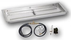 rectangular pan w spark kit fire glass custom framing and