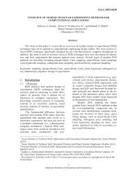 design of experiments overview of modern design of experiments methods for computational
