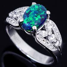 opal stone rings images Beautiful black opal stone and diamonds set in platinum ring jpg