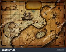 Blank Pirate Treasure Map by Map Treasure Island Specified Path Blank Stock Illustration
