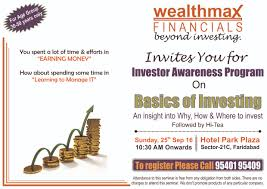 Invitation Card Format For Seminar 6th Investor Awareness Program