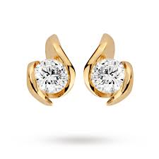 9 carat gold earrings 9 carat gold 0 25ct wrapped in diamond earrings earrings