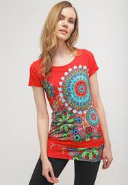 desigual designer desigual donna print t shirt poppy coral t shirts desigual