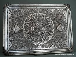engraved tray silver tray finely engraved isfahan around 1950 60