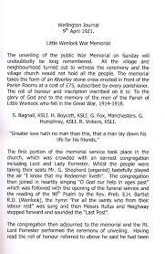memorial booklet war memorial wenlock parish council wenlock