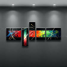 5 piece canvas wall art hand painted palette knife oil wall arts 2018 hand made oil painting on canvas palette knife red