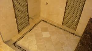 open steam shower design alongside basketweave glass wall tile and