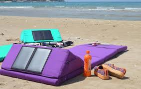solar powered outdoor mattress charges your phone and chills your