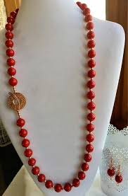 long pearl beaded necklace images Set shell pearl red beaded necklace with copper beads and jpg