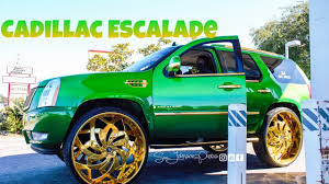 green cadillac escalade green cadillac escalade on 34 inch amani forged in hd must
