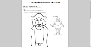 free christopher columbus paper doll printable www