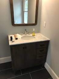 flush baseboard how would you do baseboard around this vanity the garage journal