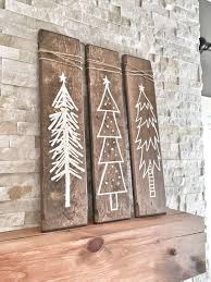 rustic white wooden christmas tree signs 3 piece set rustic x