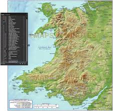 New York Relief Map by Wales 1st Level Political Map With Strong Relief 1m Scale In