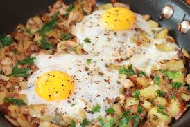 thanksgiving leftovers hash with fried eggs