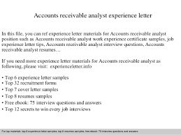 Accounts Receivable Resume Sample by Accounts Receivable Analyst Experience Letter 1 638 Jpg Cb U003d1409484462