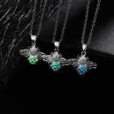 silver plated collar necklace images Silver plated glowing in the dark firefly shaped pendant necklace jpg
