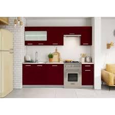 cuisine bordeaux laqué cuisine bordeaux laqué 2m40 7 meubles achat prix fnac