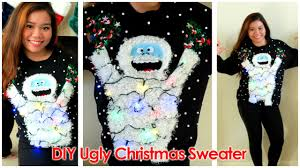 diy ugly christmas sweater 2014 abominable snowmonster youtube