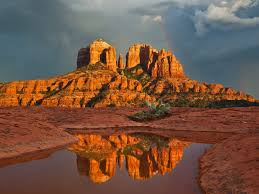rainbow over cathedral rock sedona az usa beautiful places