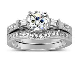 set rings round images Antique 1 carat round diamond wedding ring set for her in white jpg