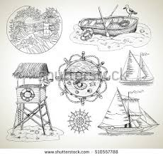 design graphic set engraved drawings boats stock vector 510557788
