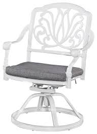 floral blossom outdoor swivel chair with cushion white