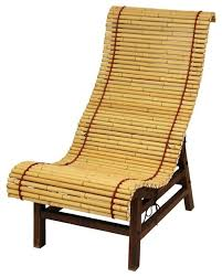Patio Chaise Lounge Chair Curved Japanese Bamboo Lounge Chair Asian Outdoor Chaise