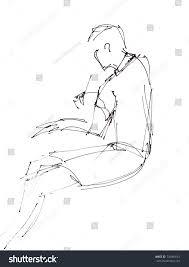 instant sketch sitting boy black white stock illustration