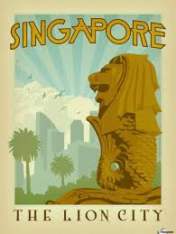 Trademark Fine Art 35 In by Singapore The Lion City Poster Vintage Poster Canvas