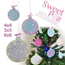 mylar baubles machine embroidery design sweet pea