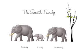family elephant print build your own family print your