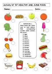 healthy and junk food worksheet by maria elena chavarria jimenez