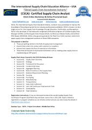 Sample Resume For Supply Chain Management by Csca Certified Supply Chain Analyst