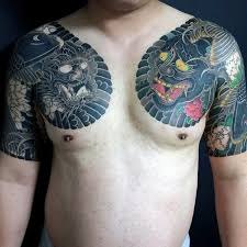 chest and sleeve japanese demon tattoo golfian com