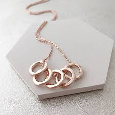 rose gold rings necklace images 50th birthday five rose gold rings necklace by sophie jones jpg