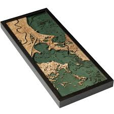 New Orleans Elevation Map by New Orleans Wood Map 3d Nautical Wood Chart Framed Art
