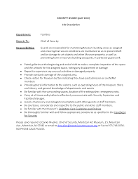 Job Resume For Hotel by Hotel Security Job Description Resume Virtren Com