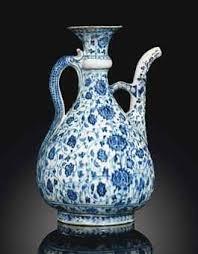 Ottoman Pottery A Large Abraham Of Kutahya Blue And White Iznik Pottery Ewer